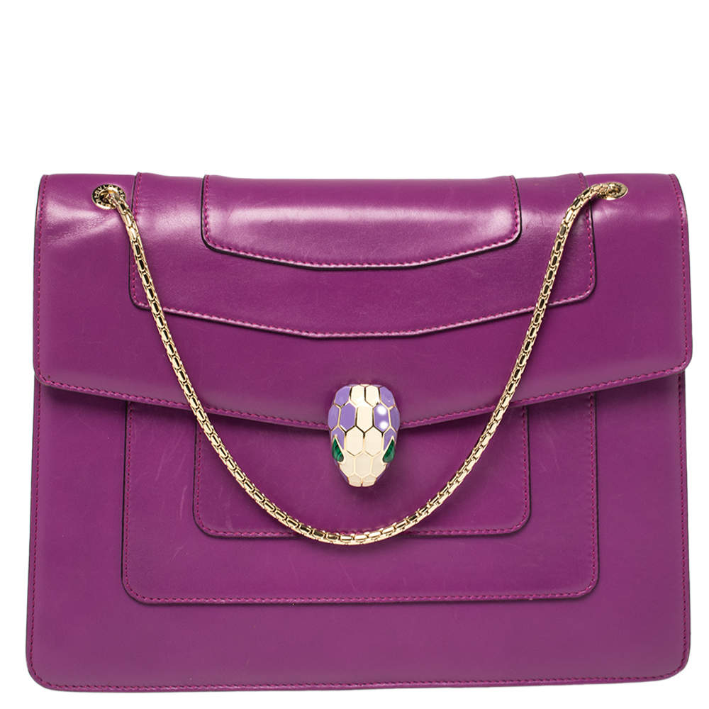 Bvlgari Purple Leather Large Serpenti Forever Shoulder Bag