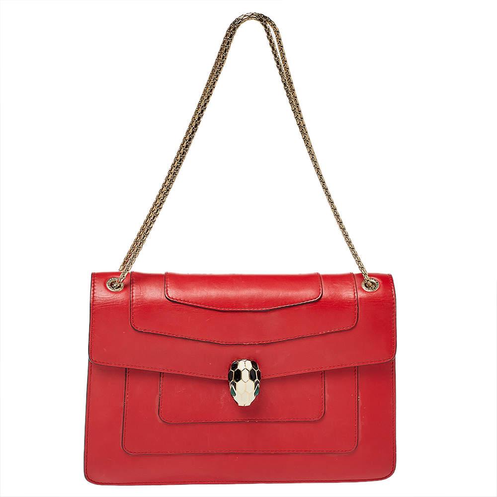 Bvlgari Red Leather Medium Serpenti Forever Flap Shoulder Bag