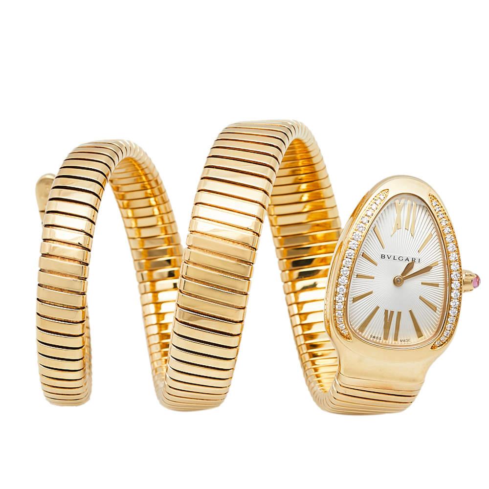 Bvlgari Silver Opaline Guilloché Soleil 18K Yellow Gold Diamonds Serpenti Tubogas SP 35 G Women's Wristwatch 35 MM
