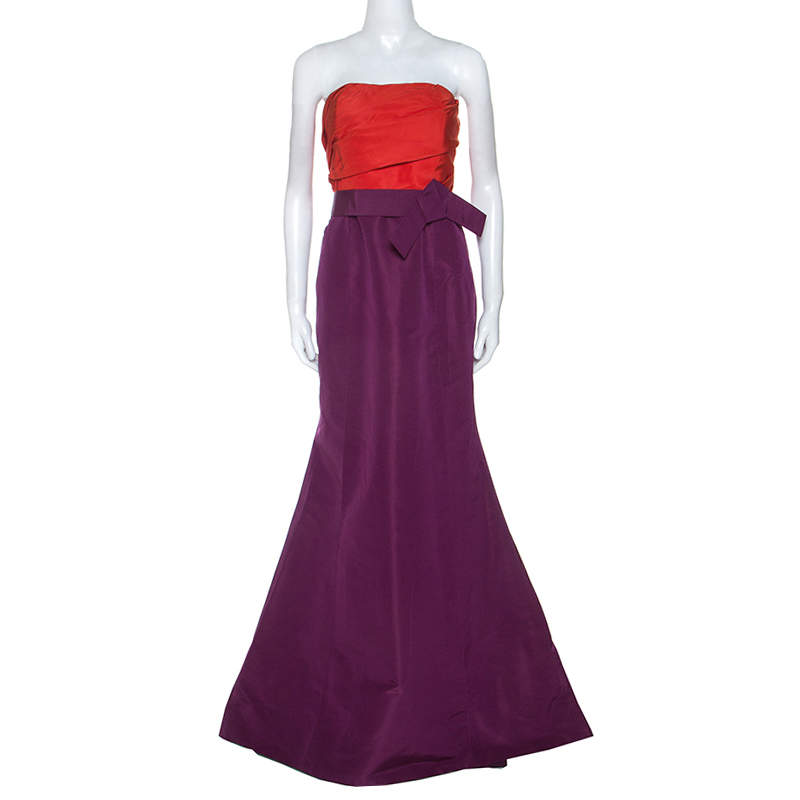 Carolina Herrera Red and Purple Color-block Silk Strapless Gown L