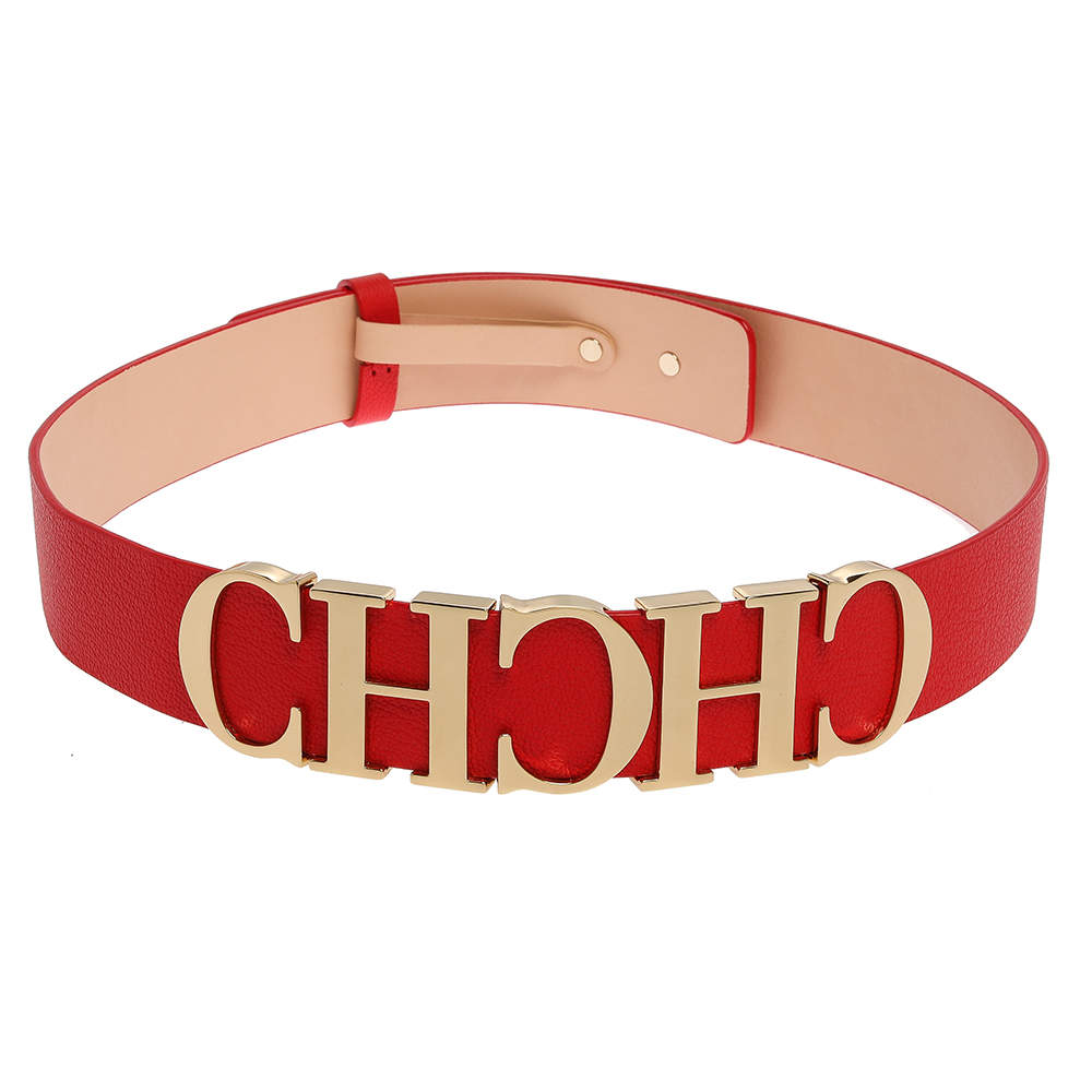 Carolina Herrera Red Leather CH Logo Belt 80 CM
