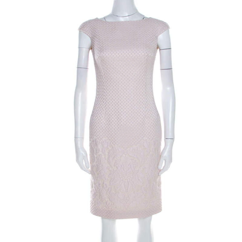 Carolina Herrera Pale Pink Embossed Jacquard Cap Sleeve Sheath Dress XS