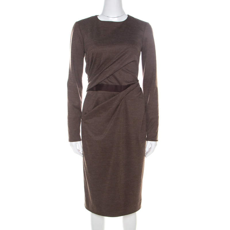 Carolina Herrera Brown Wool Asymmetric Draped Fitted Dress S