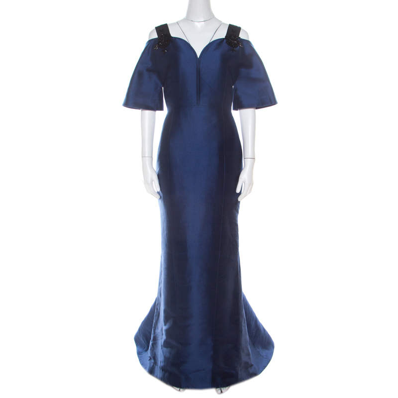 Carolina Herrera Navy Blue Silk Blend Embellished Strap Evening Gown S