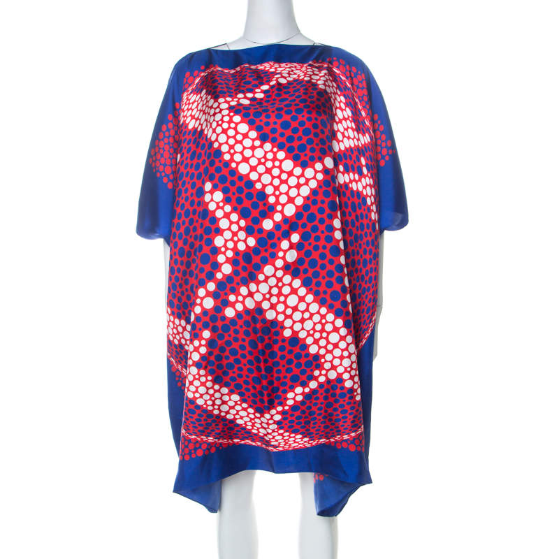 Carolina Herrera Blue & Red Printed Silk Midi Kaftan S