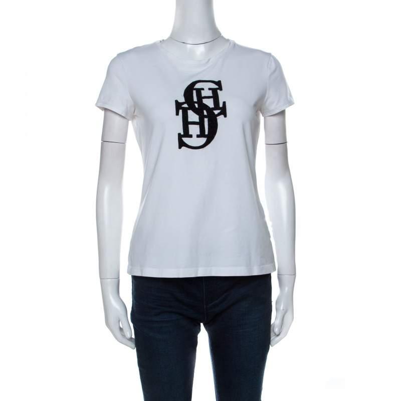 CH Carolina Herrera White Cotton Embroidered Logo Detail T-Shirt S