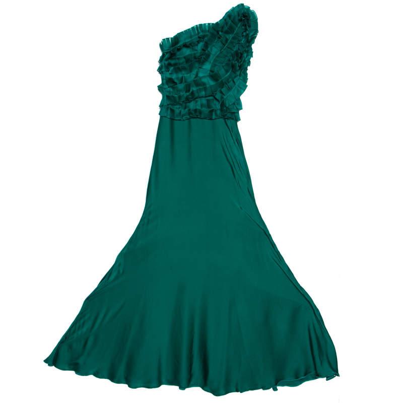 Carolina Herrera Green Silk Pleated Ruffle Bodice Evening Gown XS