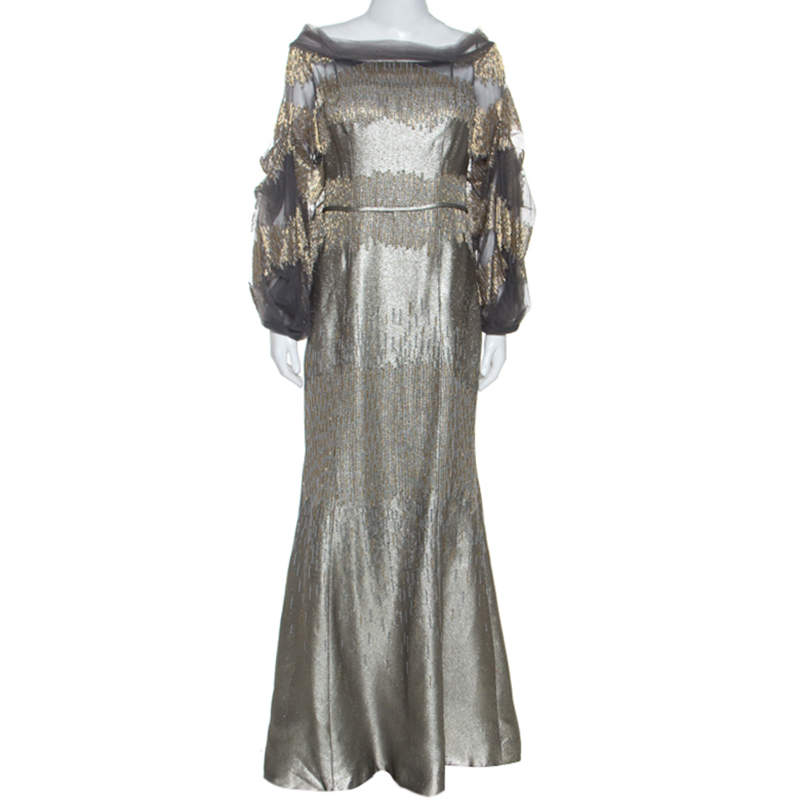 Carolina Herrera Silver Jacquard Embellished Detail Off Shoulder Gown M