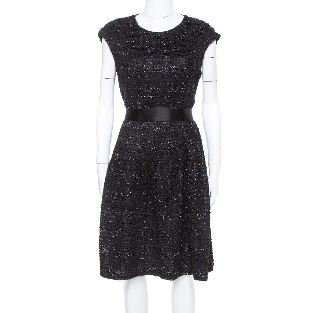 Carolina Herrera Black Sequin & Tinsel Accented Midi Dress L