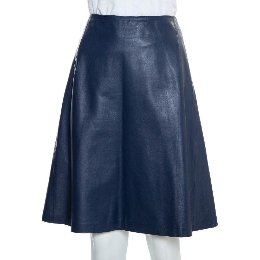 Carolina Herrera Navy Blue Leather A-Line Skirt L