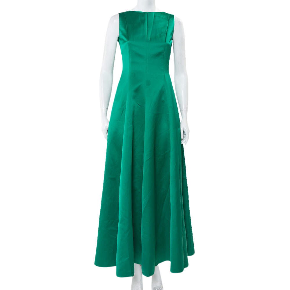 CH Carolina Herrera Green Satin Open Back Sleeveless Gown S