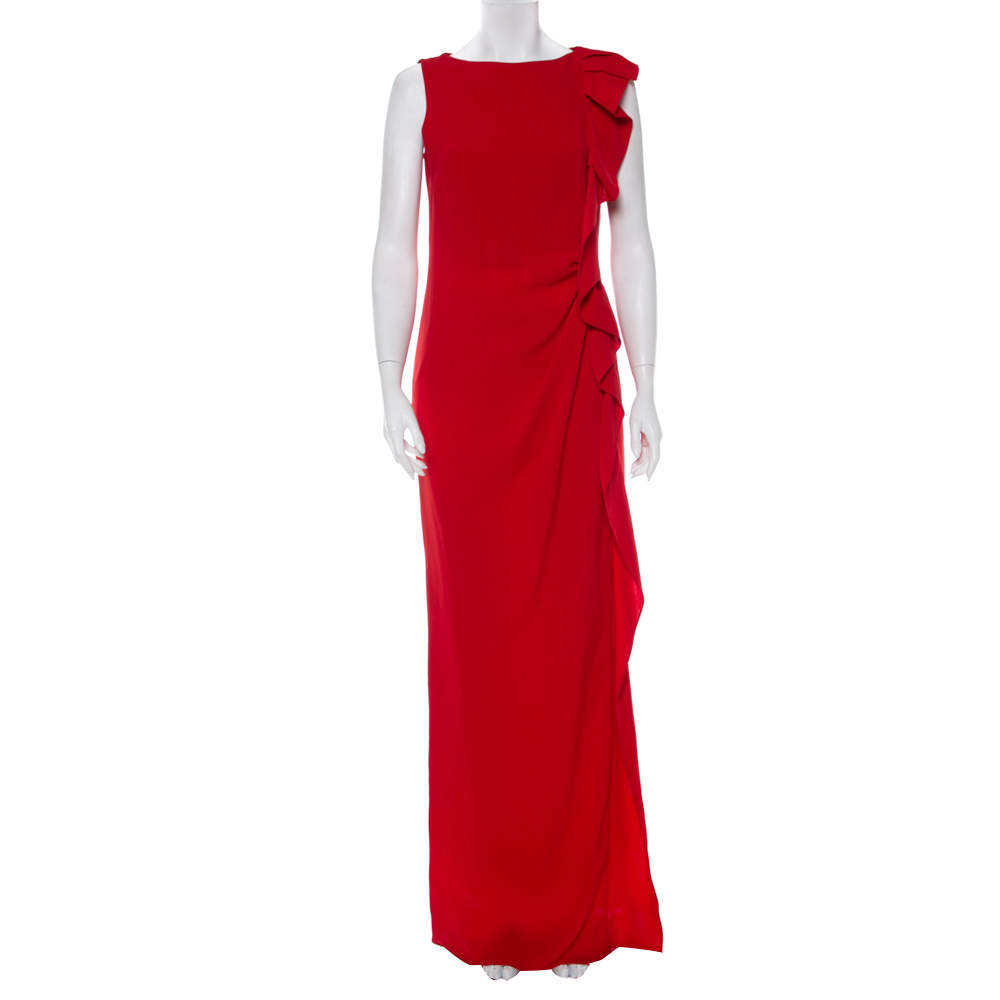 CH Carolina Herrera Red Crepe Ruffled Detail Sleeveless Maxi Dress M