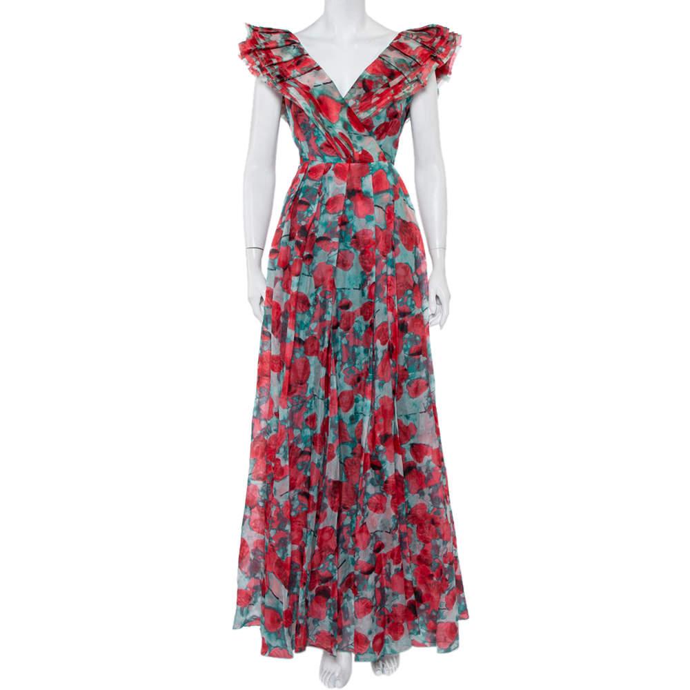 CH Carolina Herrera Multicolor Abstract Printed Silk Ruffled Pleated Maxi Dress L