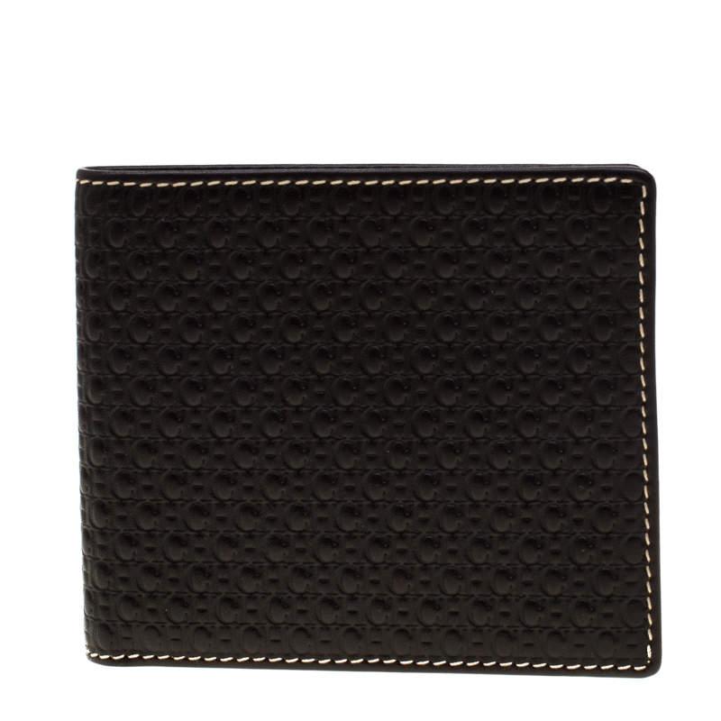 Carolina Herrera Black Monogram Leather Bifold Wallet