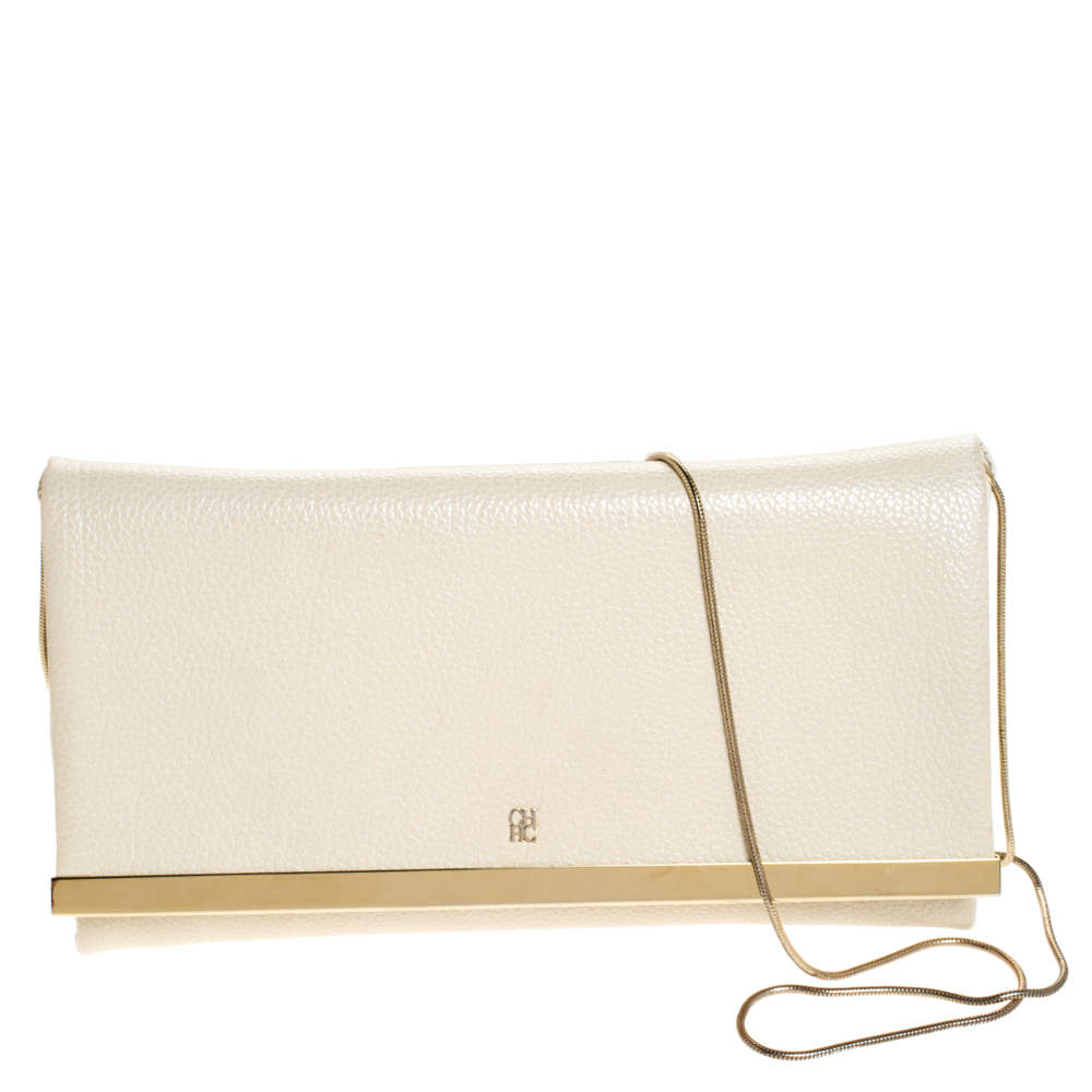 Carolina Herrera Light Cream Leather Flap Chain Clutch