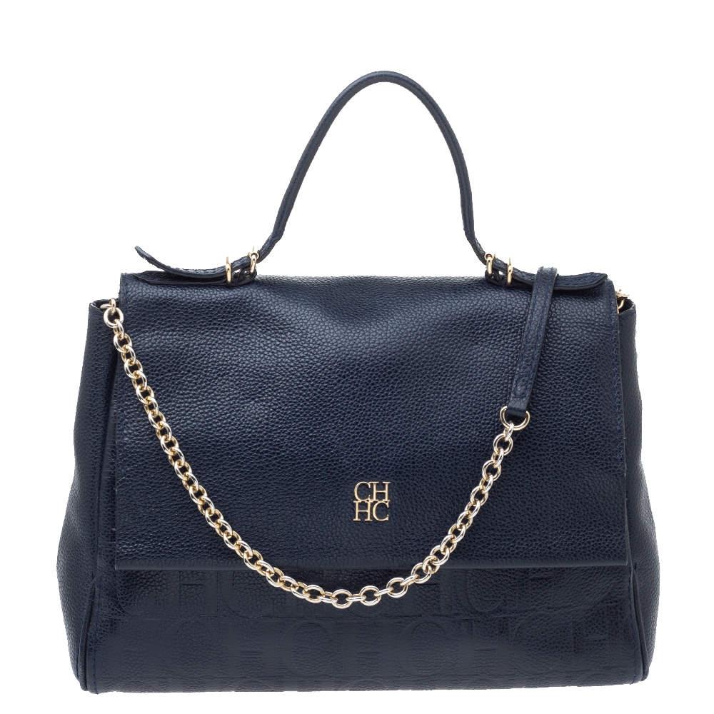 Carolina Herrera Navy Blue Leather Minuetto Flap Top Handle Bag