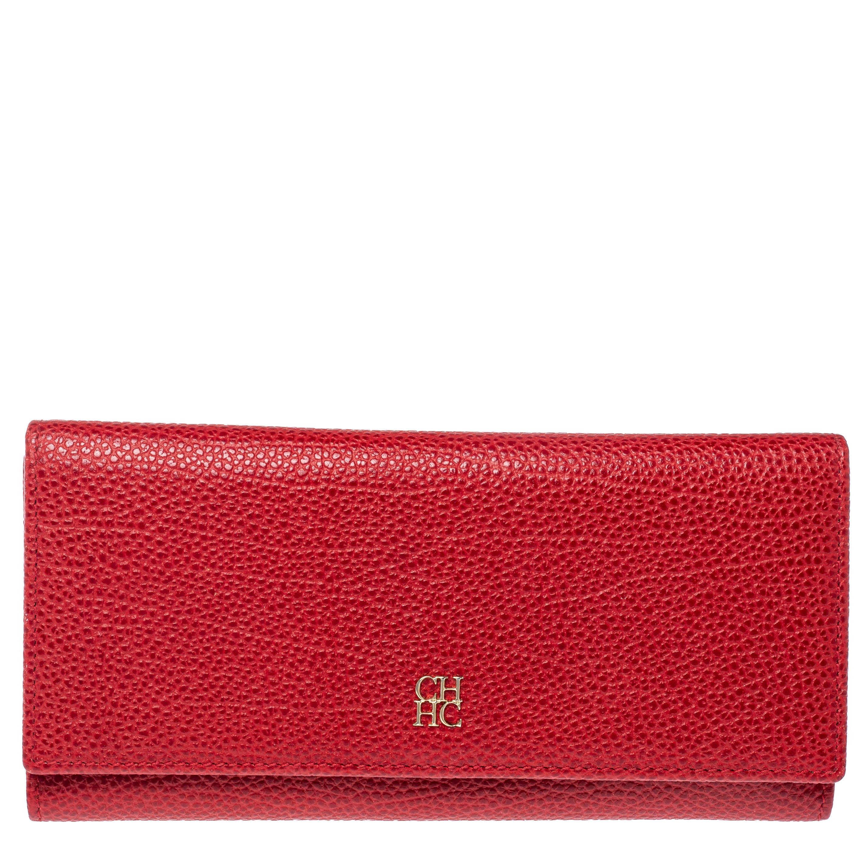 Carolina Herrera Red Leather Continental Wallet