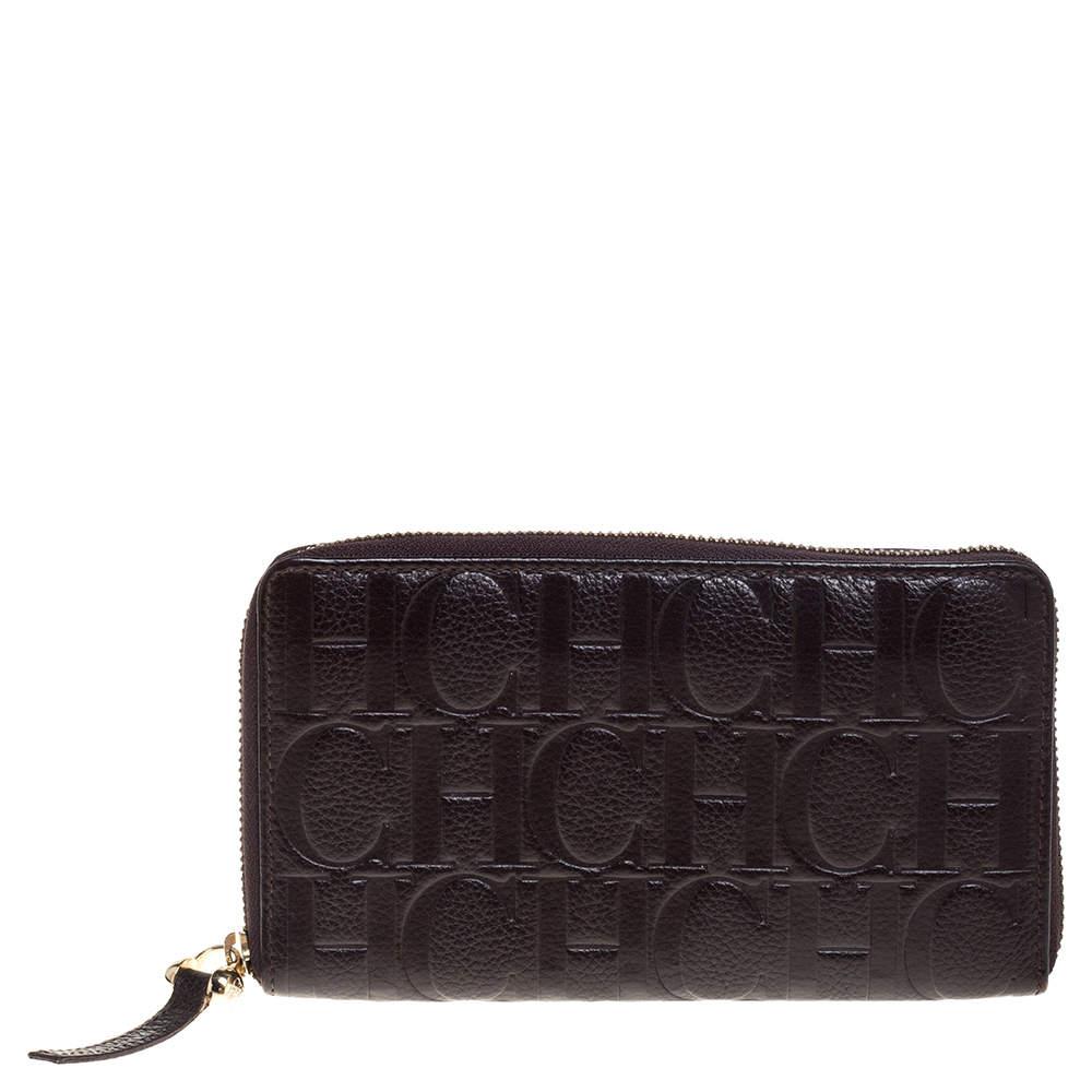 Carolina Herrera Brown Monogram Leather Zip Around Wallet