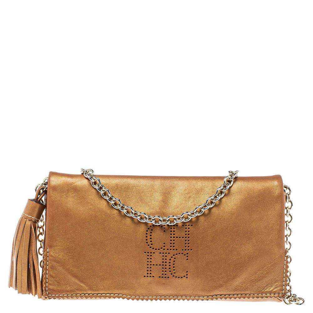 Carolina Herrera Brown Leather Chain Shoulder Bag