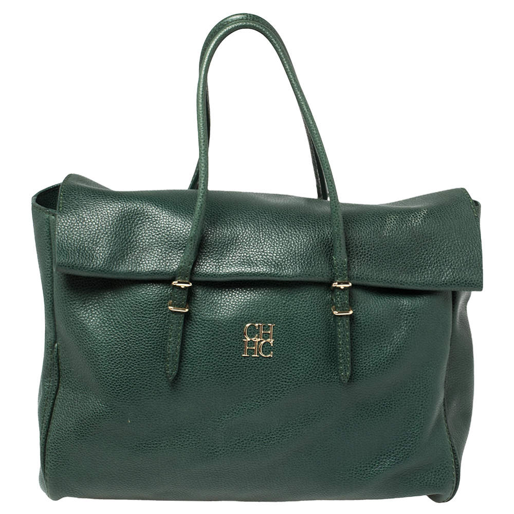 Carolina Herrera Green Leather Flap Tote