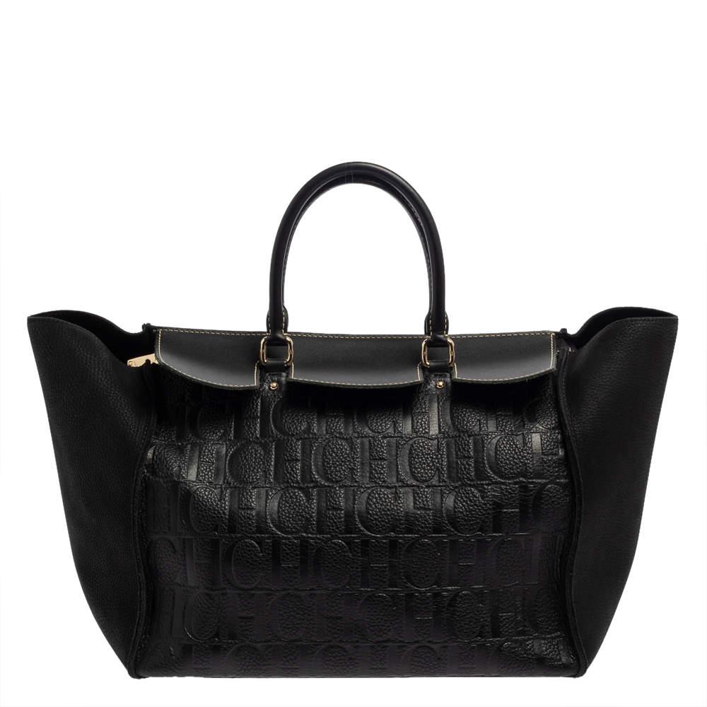 Carolina Herrera Black Monogram Embossed Leather Vendome Tote