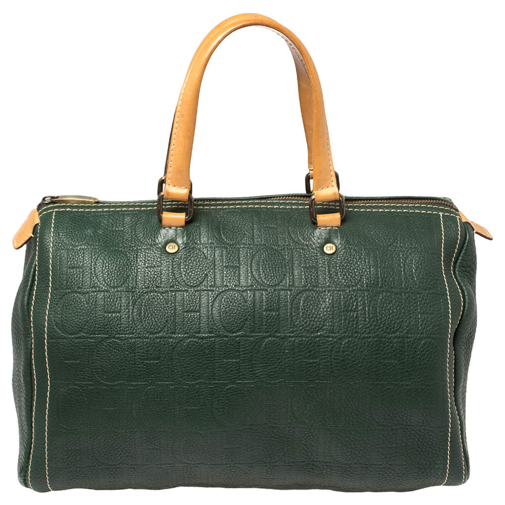 Carolina Herrera Green Monogram Leather large Andy Boston Bag