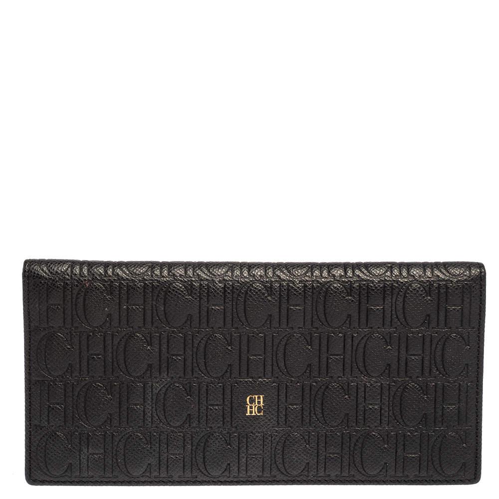 Carolina Herrera Black Monogram Embossed Leather Bifold Long Wallet