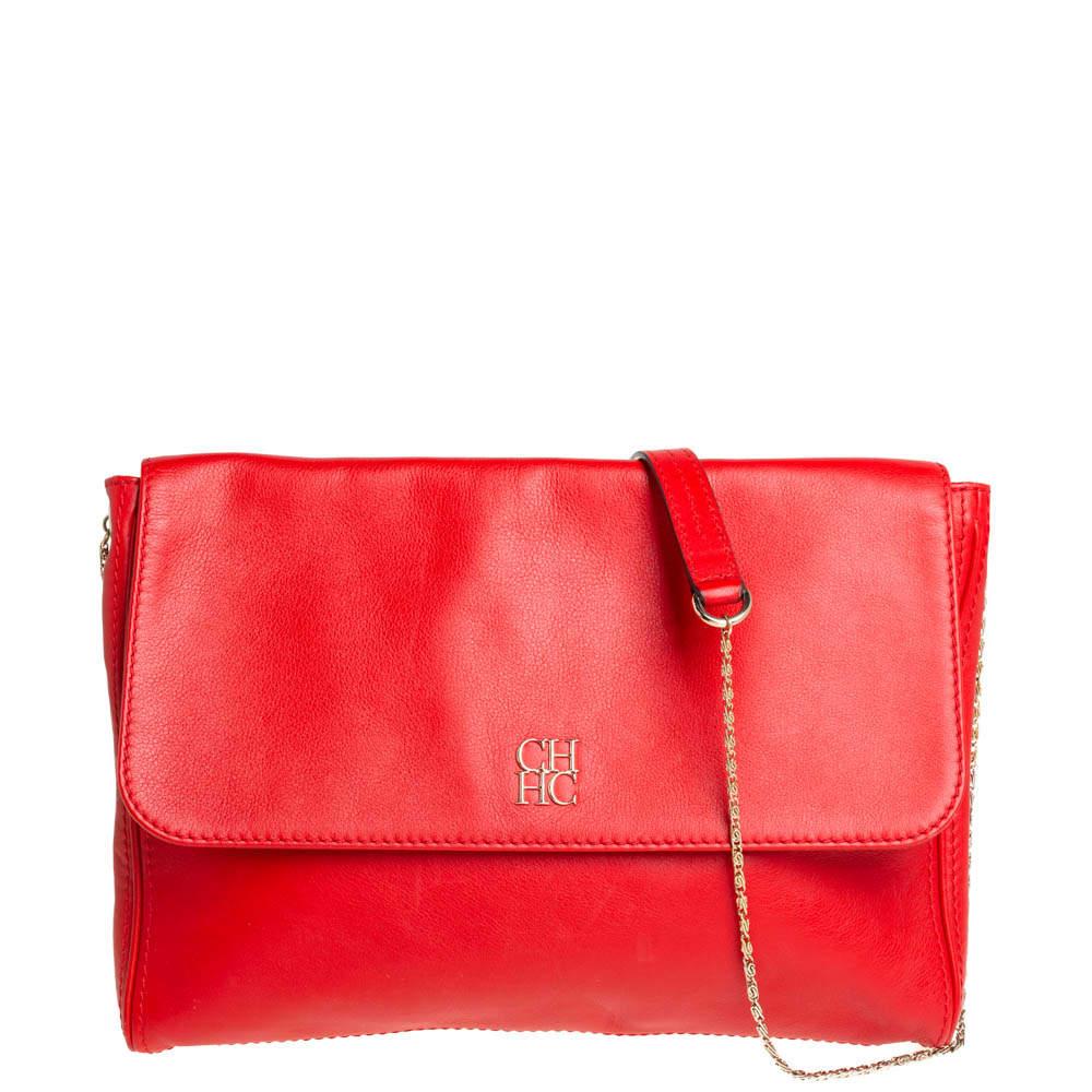 Carolina Herrera Crimson Red Leather Flap Chain Shoulder Bag