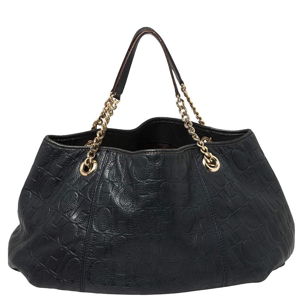 Carolina Herrera Navy Blue Monogram Embossed Leather Chain Shoulder Bag