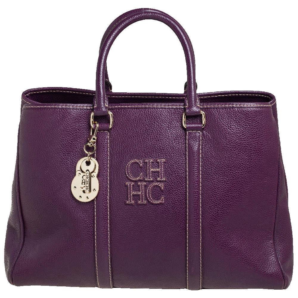 Carolina Herrera Purple Leather Large Matteo Tote