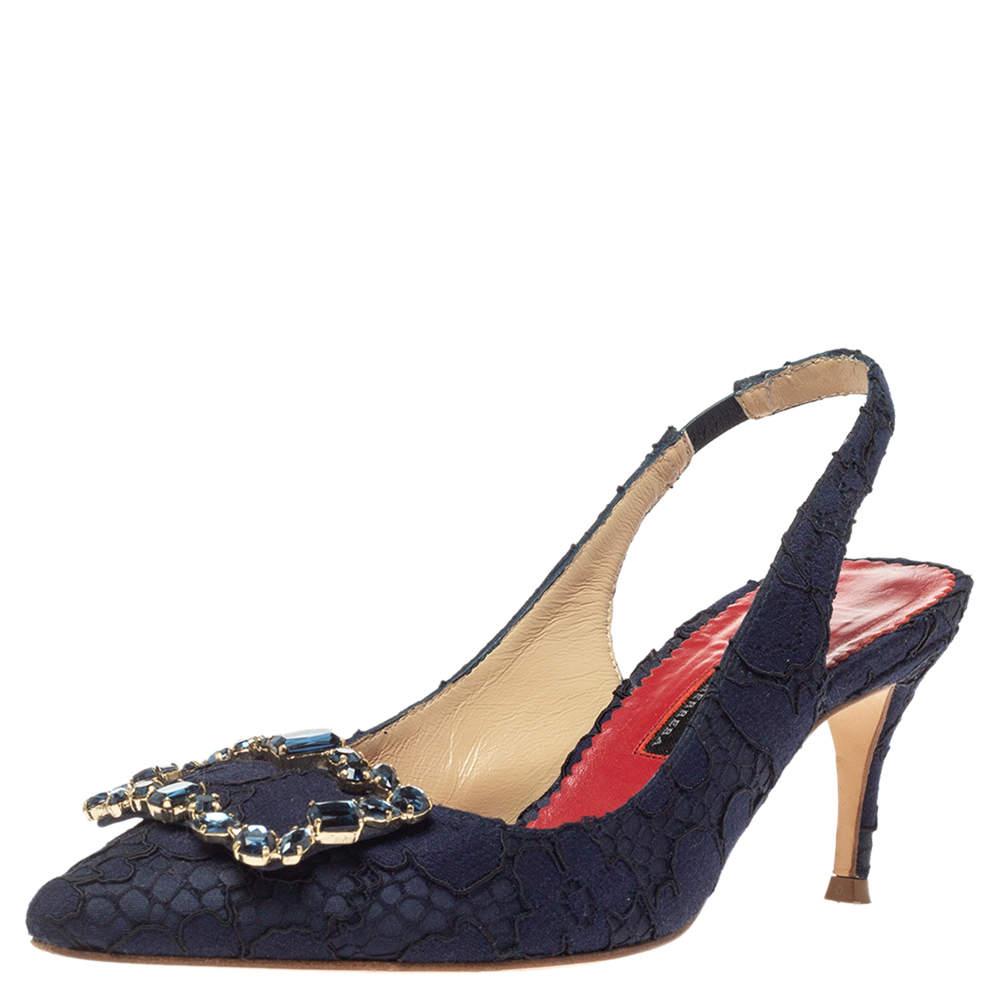 Carolina Herrera Blue Lace Pointed Toe Slingback Sandals Size 36