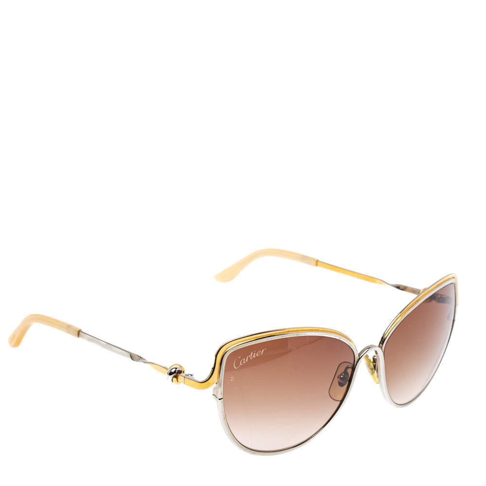 Cartier Two Tone / Brown Gradient CT0089S Trinity de Cartier Cateye Sunglasses