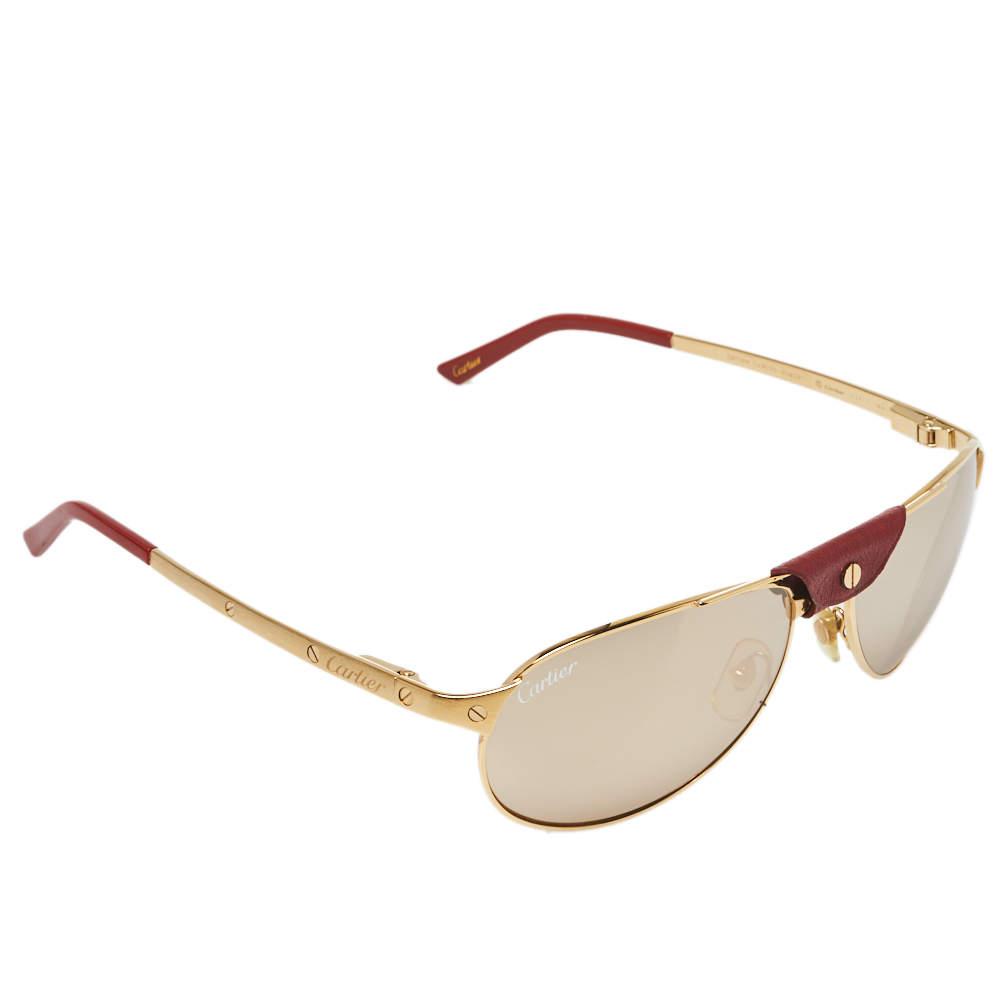 Cartier Gold Tone/ Gold Mirrored Santos-Dumont Aviator Sunglasses