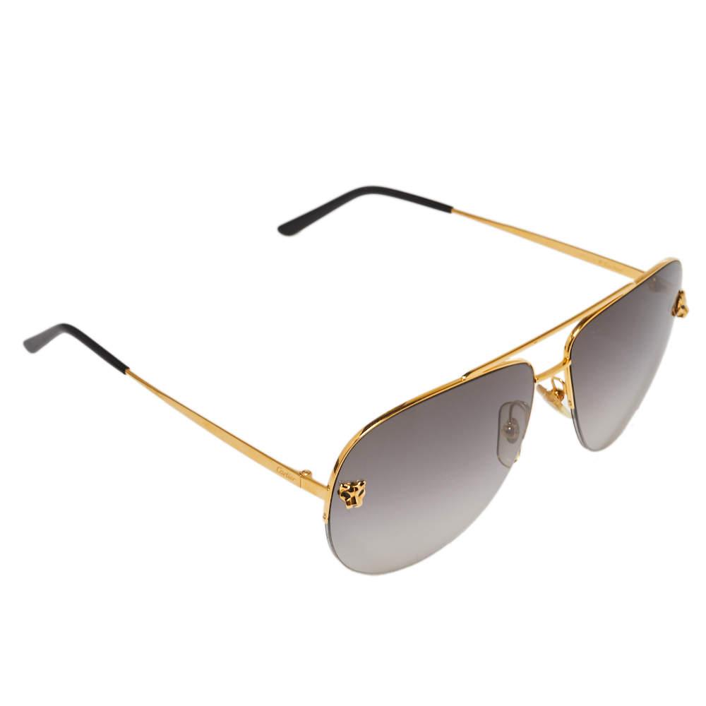 Cartier Gold/Black Gradient Panthere De Cartier Aviator Sunglasses