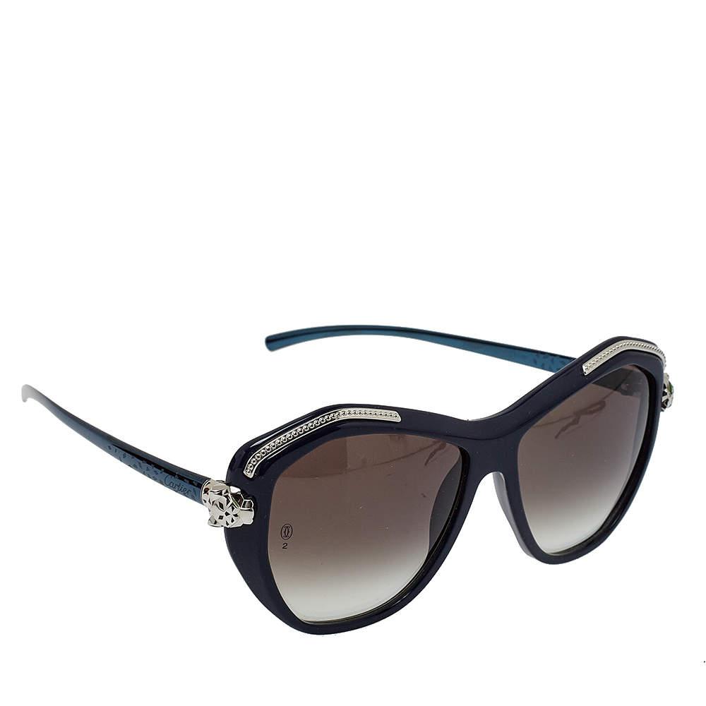 نظارة شمسية كارتييه بانتر ويلد دو كارتييه هندسية غرادينت رصاصي داكن و أزرق كحلي