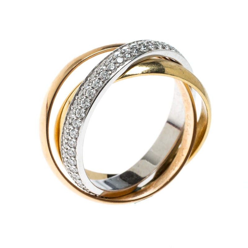 Cartier Trinity De Cartier Diamond & 18k Three Tone Gold Rolling Ring Size 48