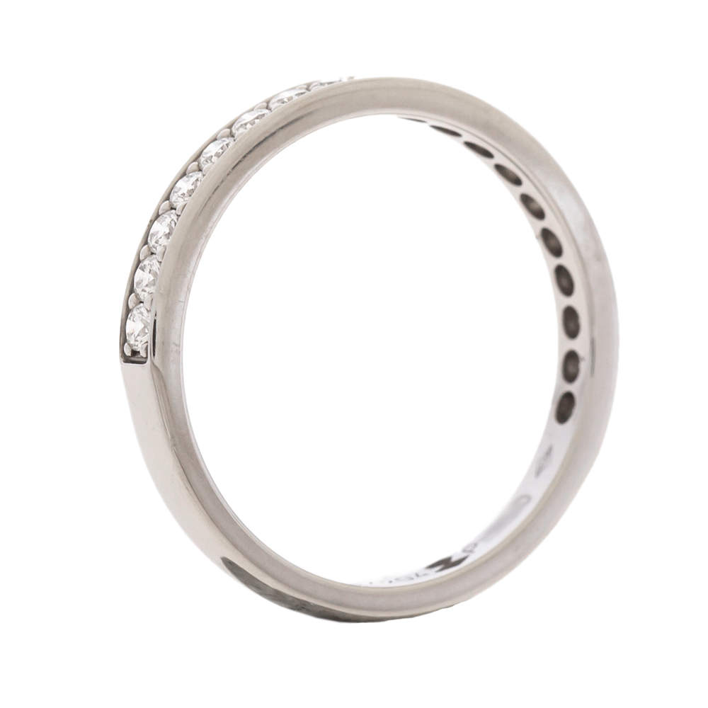 Cartier Diamond Platinum Half Eternity Wedding Band Ring Size 50
