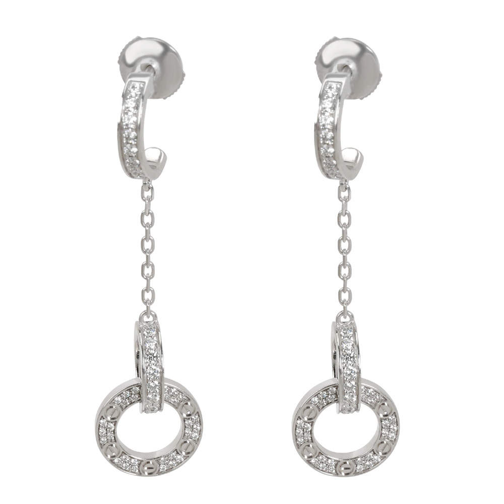 Cartier Love Dangle Diamond 18K White Gold Earrings