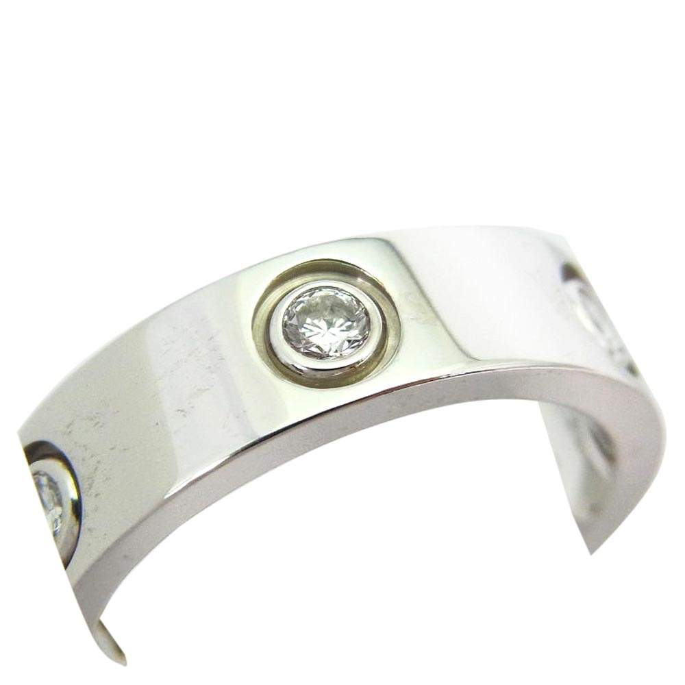 Cartier Love 6 Diamond 18K White Gold Ring Size 56