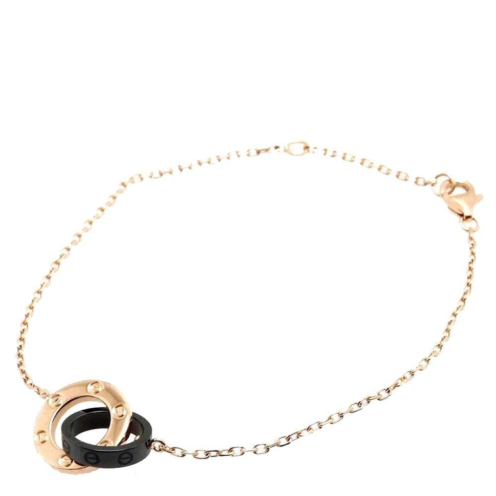 Cartier Love 18K Rose Gold 3 Diamond Black Ceramic Bracelet