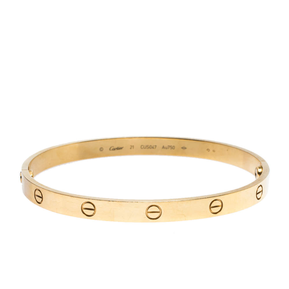 Cartier Love 18K Yellow Gold Bracelet 21