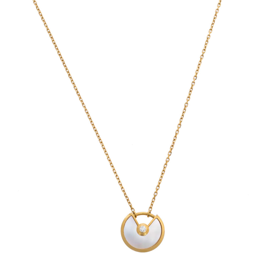 Cartier Amulette De Cartier Mother of Pearl Diamond 18K Yellow Gold Necklace XS
