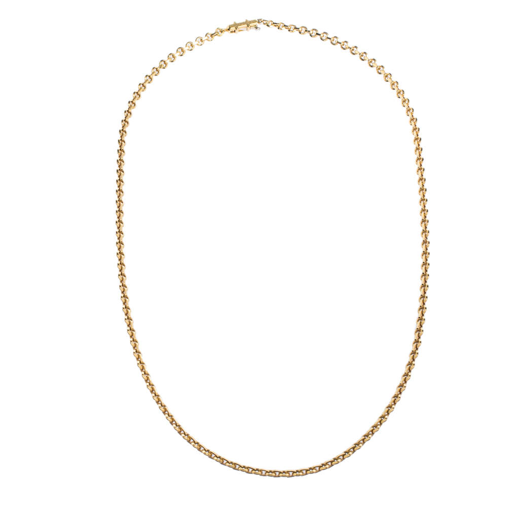Cartier 18K Yellow Gold Flat Round Chain Link Necklace