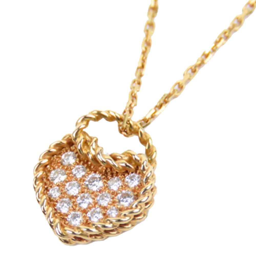 Cartier Coeur Torsade 18K Diamond Heart Pendant Necklace