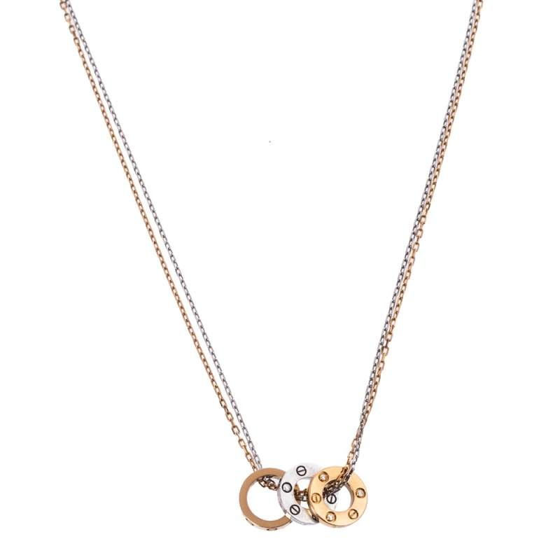 Cartier LOVE 6 Diamonds 18K Two Tone Gold Double Strand Necklace
