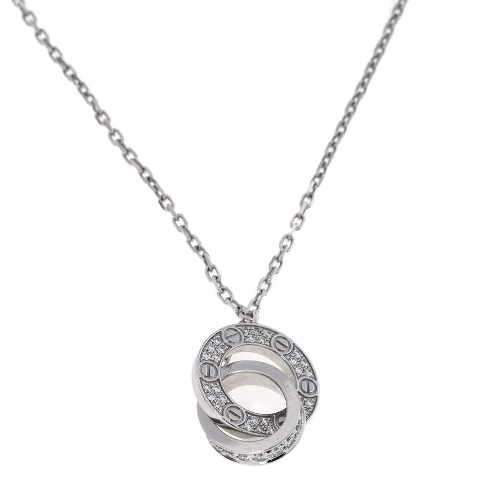 Cartier LOVE Interlocking Pave Diamond 18K White Gold Necklace