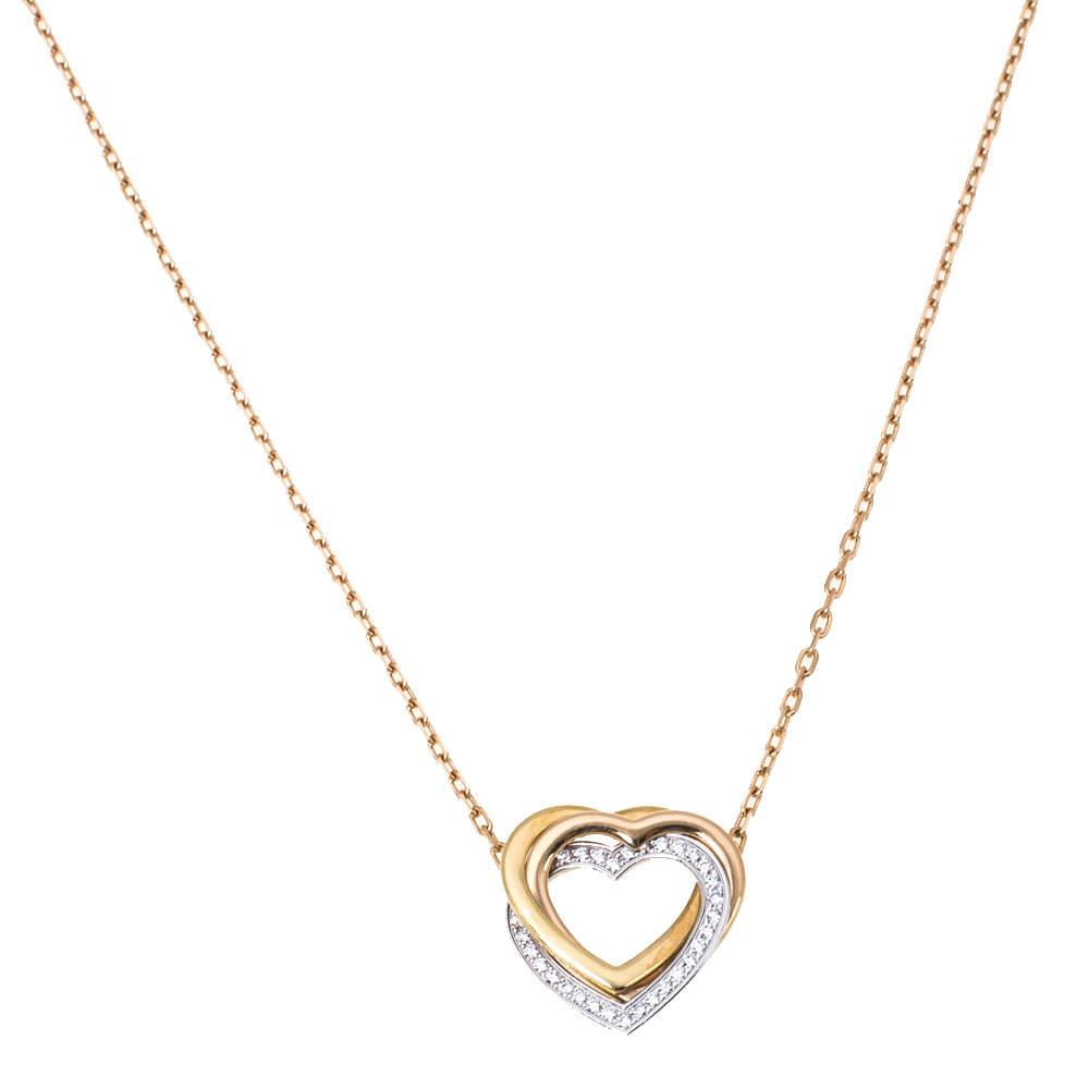 Cartier Trinity Heart Diamond 18K Three Tone Gold Pendant Necklace