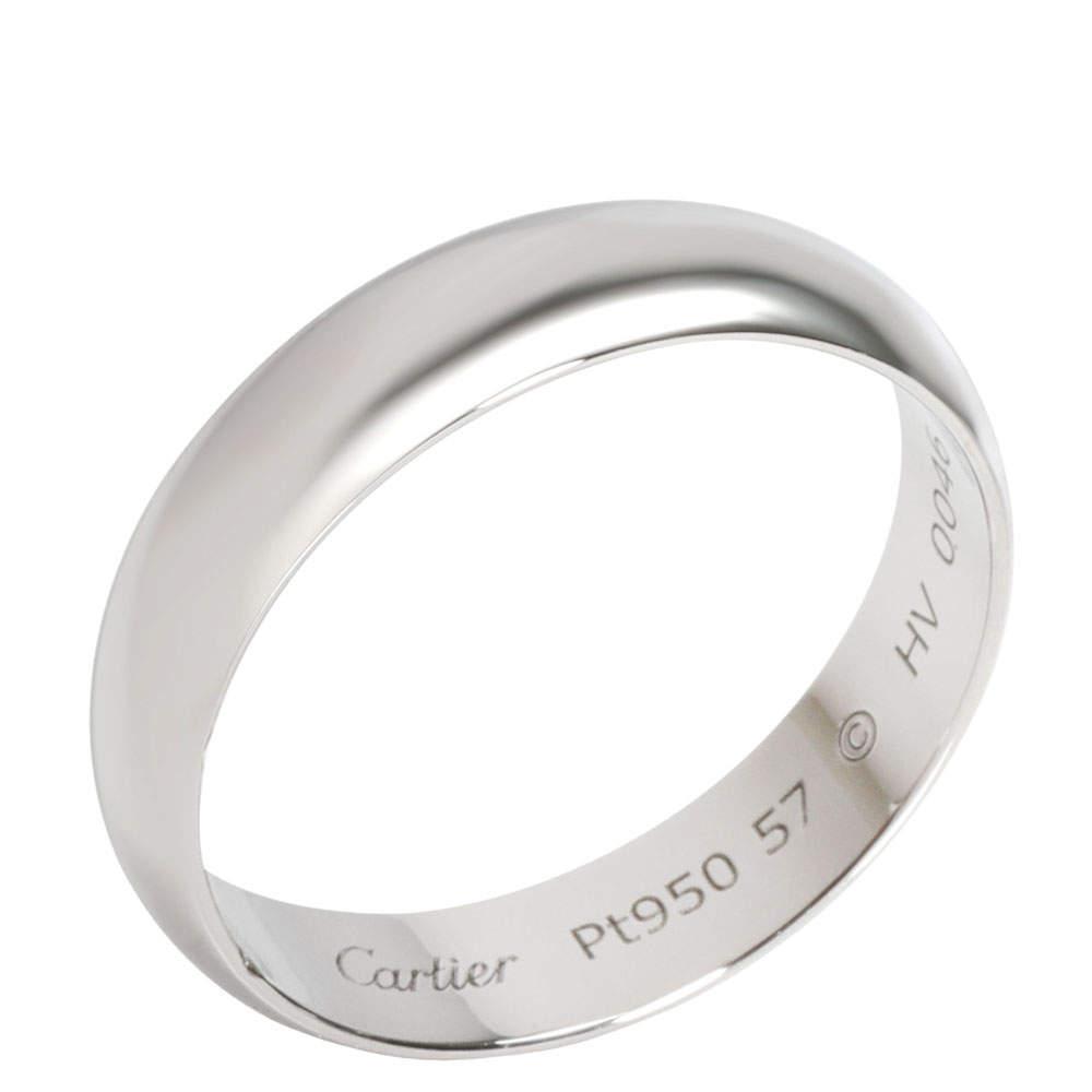 Cartier 1895 Wedding Band Platinum Ring Size 57
