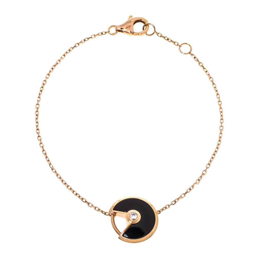 Cartier Amulette De Cartier Diamond Onyx 18K Rose Gold Bracelet XS