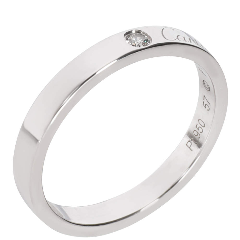 Cartier C de Cartier Diamond Platinum Band Ring Size 57